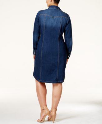 INC International Concepts Plus Size Denim Shirtdress, Only at ...