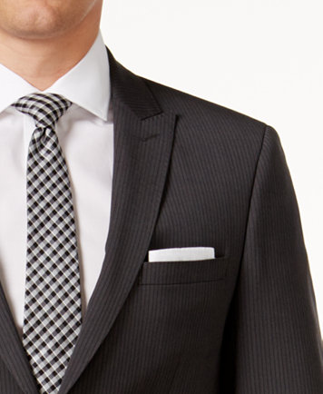Calvin Klein Men's Extra Slim-Fit Charcoal Pinstripe Suit - Suits ...