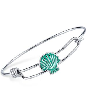 Disney Little Mermaid Enamel Shell Bangle Bracelet in Sterling Silver Plating and...