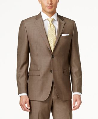 Lauren Ralph Lauren Men's Slim-Fit Medium Brown Pindot Suit ...