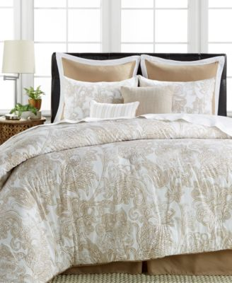 everett 8-pc. cotton/linen comforter sets - bed in a bag - bed