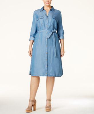 MICHAEL Michael Kors Plus Size Light Wash Denim Shirt Dress ...