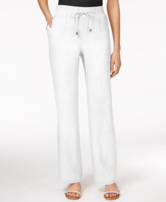 Style & Co. Wide-Leg Linen Drawstring Pants - Pants - Women - Macy's