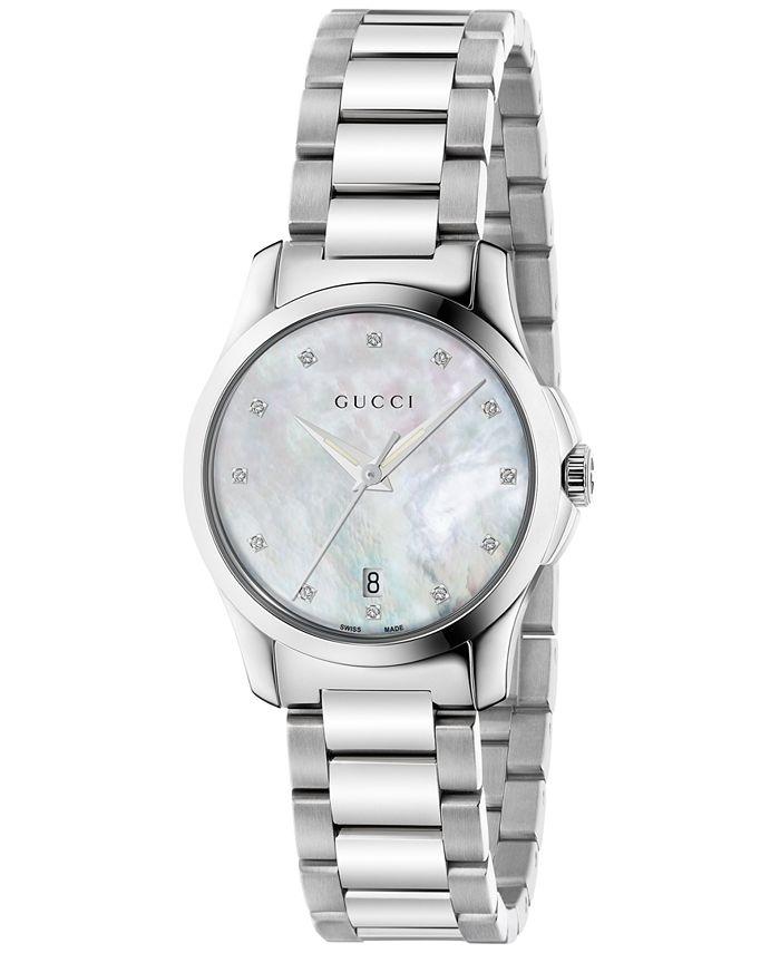 Gucci - Women's Swiss G-Timeless Diamond Accent Stainless Steel Bracelet Watch 27mm YA126542