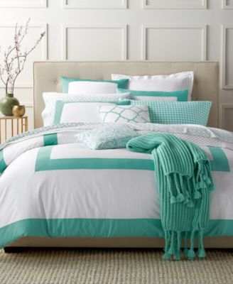 Charter Club Damask Designs Colorblocked Teal King Duvet Set, Only at Macy's