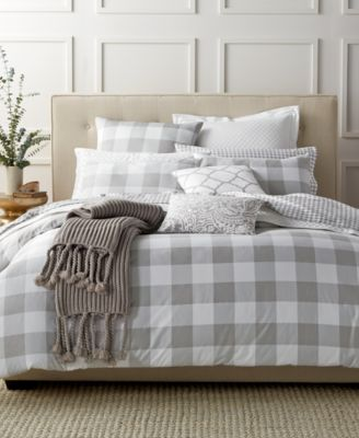 Charter Club Damask Designs Gingham Dove King Comforter Set, Only at Macy's