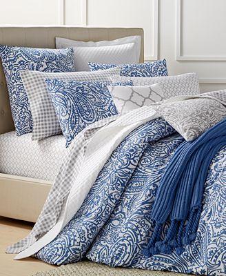 charter club damask designs paisley denim comforter sets, only at