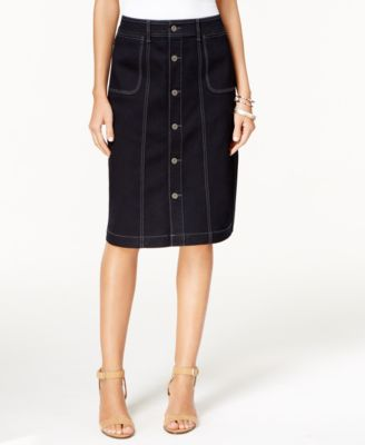 Style & Co Button-Front Denim Skirt, Only at Macy's - Skirts ...