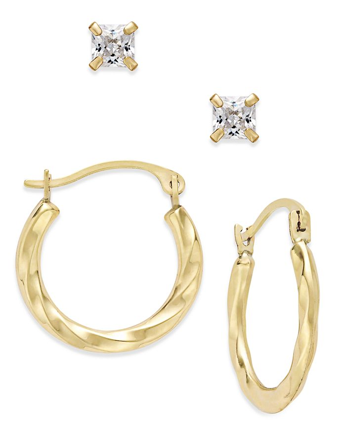 Macy's - 2-Pc Set Cubic Zirconia Studs and Twisted Hoop Earrings in 10k Gold