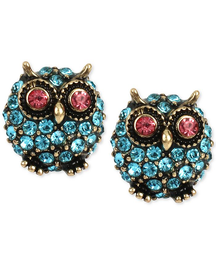 Betsey Johnson - Gold-Tone Blue Pavé Owl Stud Earrings you can