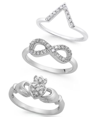 Diamond Infinity Ring in Sterling Silver (1/10 ct. t.w.)