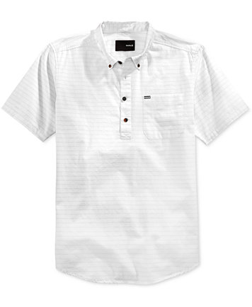 Hurley Men's Half-Closure Button-Down Short-Sleeve Shirt - Casual ...