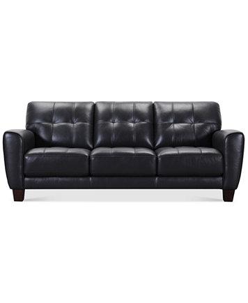 Kaleb Tufted Leather Sofa Furniture Macy S