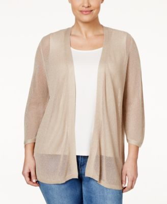 Calvin Klein Plus Size Sheer Metallic Cardigan - Sweaters - Plus ...
