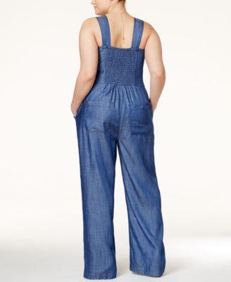 rachel rachel roy curvy plus size denim wide-leg jumpsuit - pants