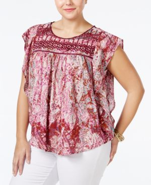 Jessica Simpson Trendy Plus Size Kala Embroidered Printed Top