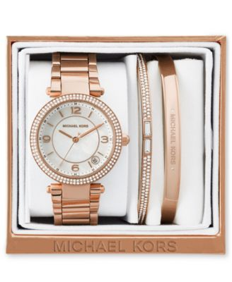 Michael Kors Women\u0027s Mini Parker Rose Gold,Tone Stainless Steel Bracelet  Watch and Bracelets Box Set 33mm MK3506