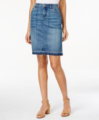 Style & Co. Released-Hem Denim Pencil Skirt, Only at Macy's ...
