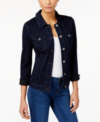 INC International Concepts Hooded Dark Indigo Wash Denim Jacket ...