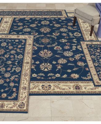 Kenneth Mink Area Rug Set Florence Collection 4 Pc Isfahan Blue