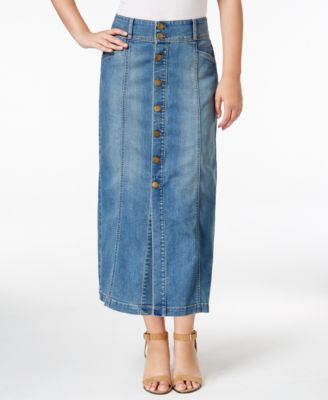Style & Co. Petite Button-Front Denim Midi Skirt, Only at Macy's ...