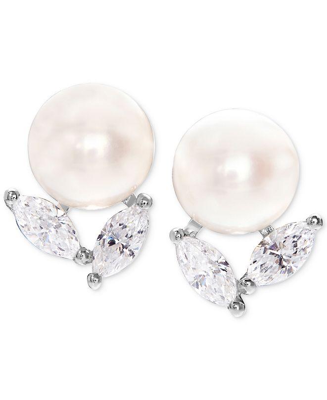 Arabella Cultured Freshwater Pearl (8mm) and Swarovski Zirconia Stud Earrings in Sterling Silver
