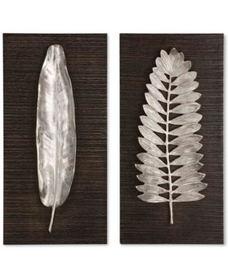 "Uttermost Set of 2 Silver Leaves Wall Decor, 24"" x 12"""