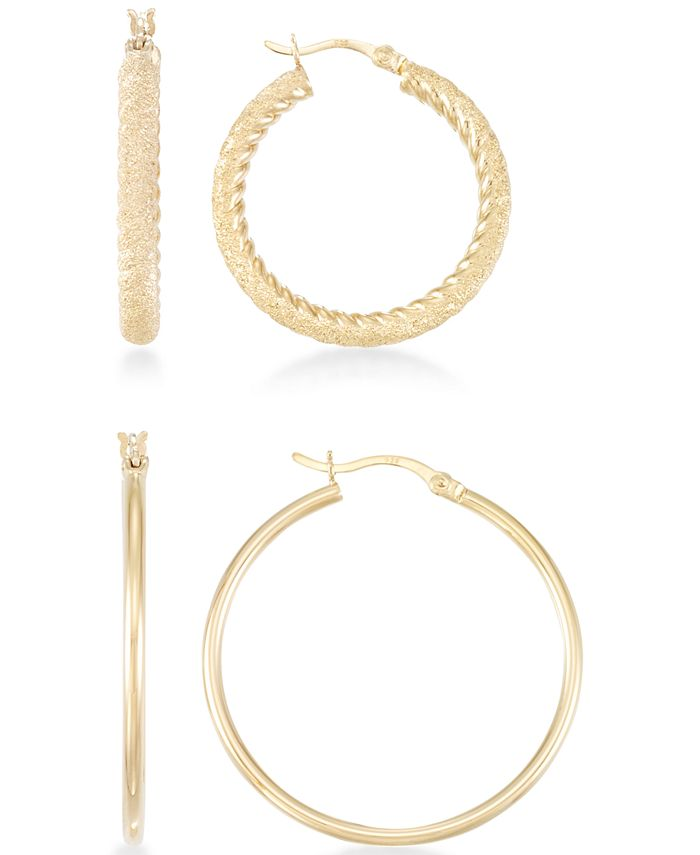 Macy's - 2-Pc. Set Textured and Polished Hoop Earrings in 14k Gold Over Sterling Silver