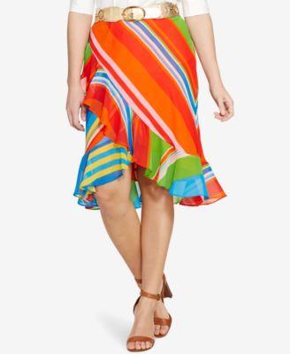 Lauren Ralph Lauren Plus Size Parolita Ruffled Faux-Wrap Skirt ...