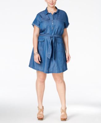 Stoosh Plus Size Belted Chambray Fit & Flare Shirtdress - Dresses ...