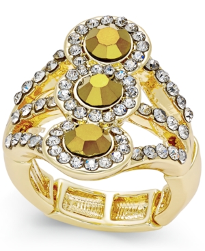 Inc International Concepts Gold-Tone Yellow Crystal Stretch Ring, Only at Macy's