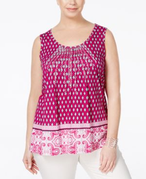 Charter Club Plus Size Printed Pintucked Tank Top, Only at Macy's