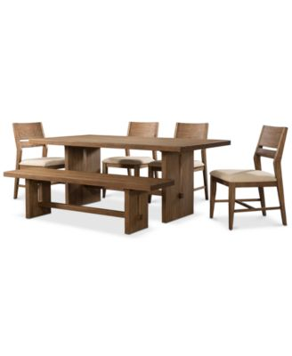 Athena 6 Pc Dining Set Table 4 Side Chairs Bench