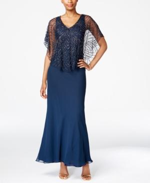 J Kara Beaded V-Neck Capelet Gown $269.00 AT vintagedancer.com