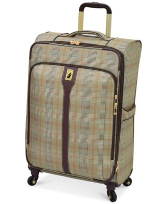 "London Fog Knightsbridge 25"" Expandable Spinner Suitcase, Available in Brown and Grey Glen Plaid, Macy's Exclusive Colors"