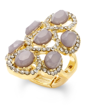 Inc International Concepts Gold-Tone Gray Crystal Statement Stretch Ring, Only at Macy's