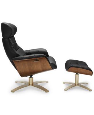 Marvelous Annaldo Leather Swivel Chair U0026 Ottoman 2 Pc. Set