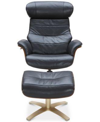 annaldo leather swivel chair u0026 ottoman 2pc set