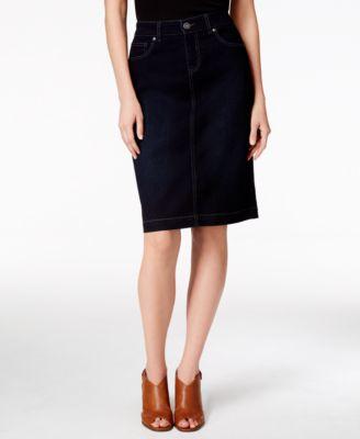 Style & Co Tummy-Control Denim Skirt, Bright White Wash - Skirts ...