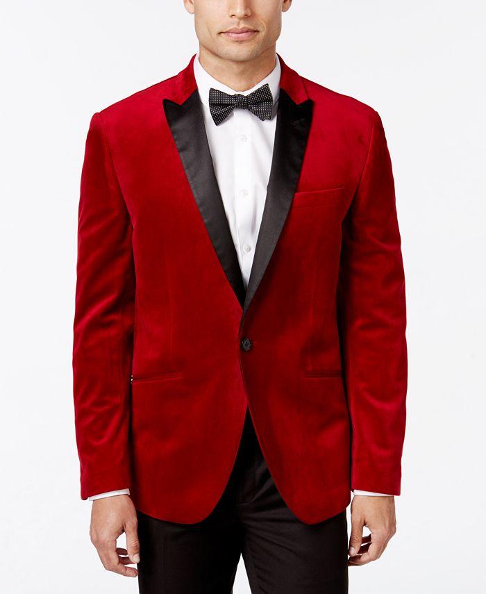 Bar III - Men's Slim-Fit Red Velvet Sport Coat