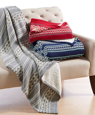 Martha Stewart Collection Sweater-Knit Fair Isle Throw, Only at ...