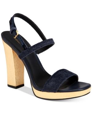 Calvin Klein Women's Bambii Velvet Slingback Platform Sandals Women's Shoes
