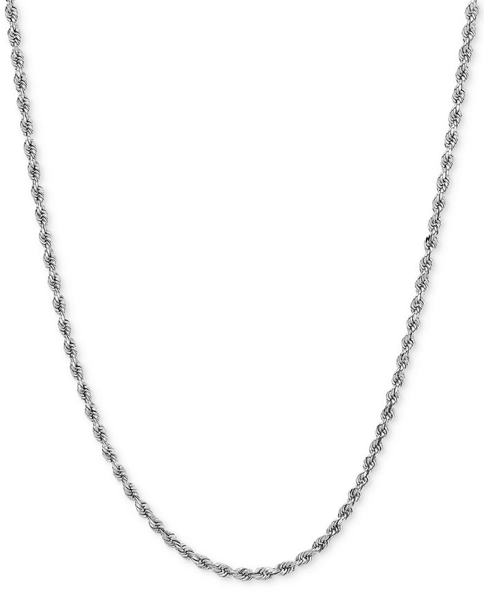 Macy's - Polished Rope (1-3/4mm) Chain Necklace in 14k White Gold