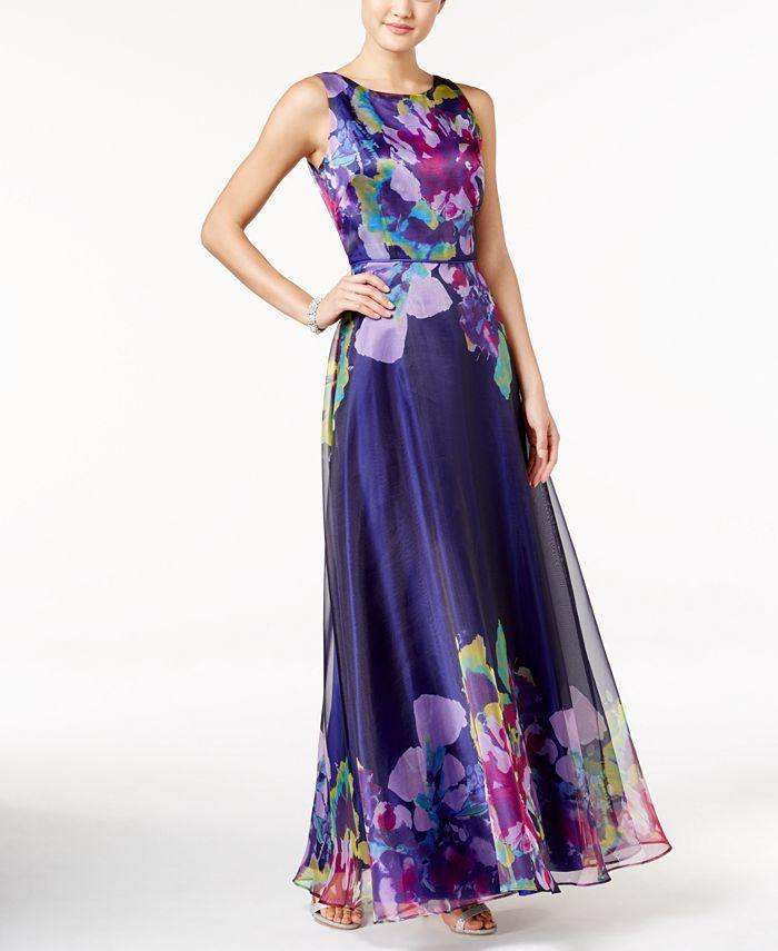 Tahari ASL - Floral V-Back Gown