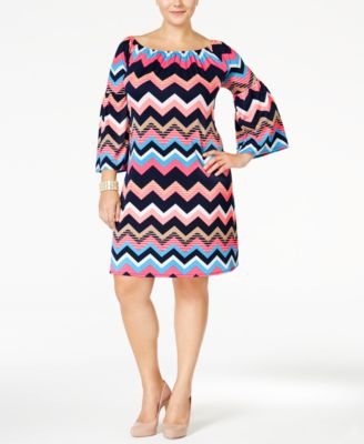 Love Squared Plus Size Chevron-Print Shift Dress - Dresses - Plus ...