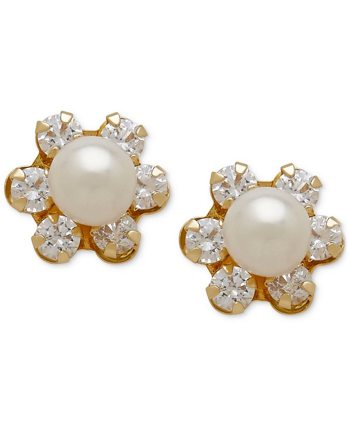 Macy's - Freshwater Pearl (3-3/4mm) and Cubic Zirconia Stud Earrings in 14k Gold
