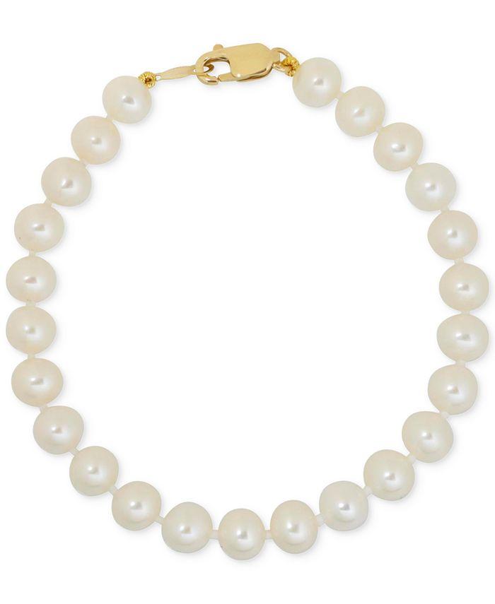 Macy's - Children's White Cultured Freshwater Pearl (4-1/2mm) Bracelet