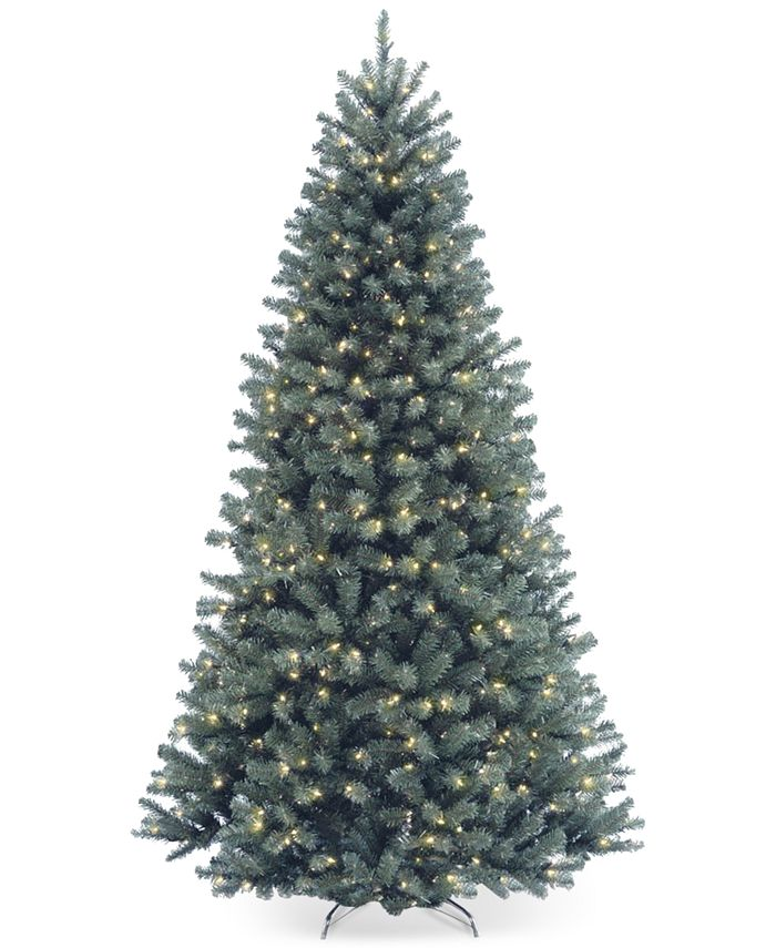 National Tree Company - 7.5' North Valley Spruce Blue Hinged Christmas Tree with 700 Clear Lights
