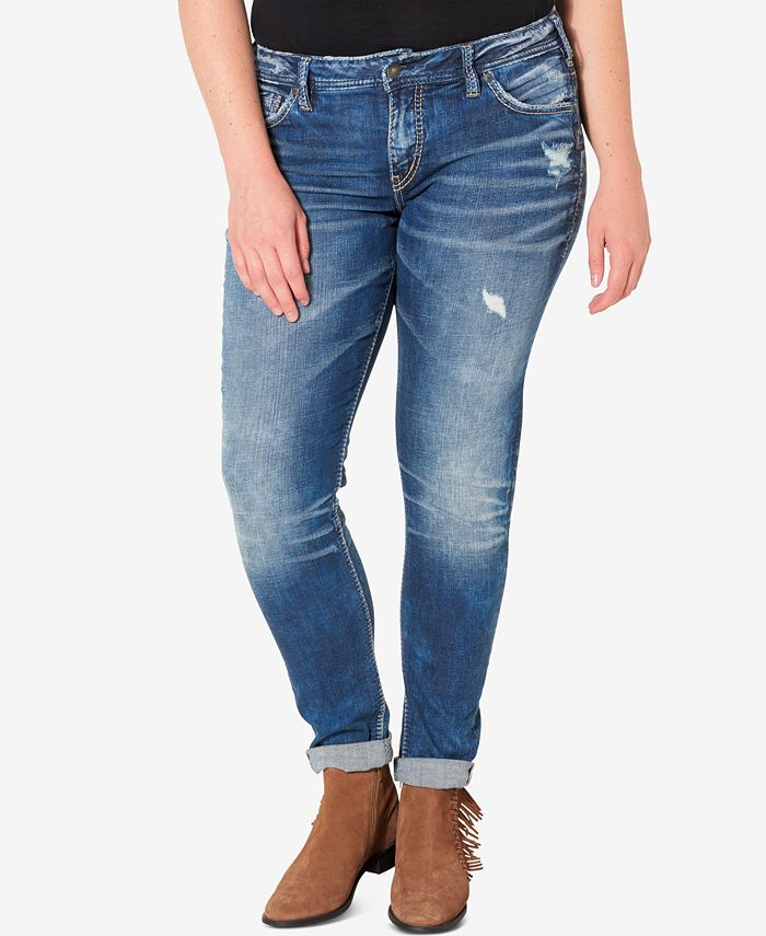 Silver Jeans Co. - Plus Size Indigo Wash Ripped Girlfriend Jeans