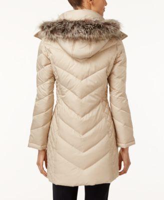 Kenneth Cole Faux-Fur-Trim Chevron Quilted Down Coat - Coats ... : kenneth cole chevron quilted coat - Adamdwight.com